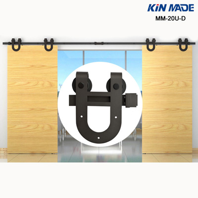 black coated double sliding door hardware